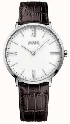 Hugo Boss Mens Jackson correa de cuero marrón de línea blanca 1513373