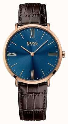 Hugo Boss Mens Jackson correa de cuero marrón esfera azul 1513458