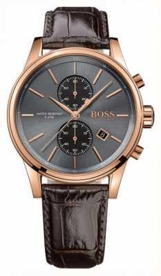 Hugo Boss Mens chorro esfera gris correa de cuero marrón 1513281
