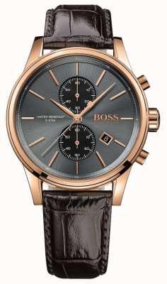 Boss Mens chorro esfera gris correa de cuero marrón 1513281