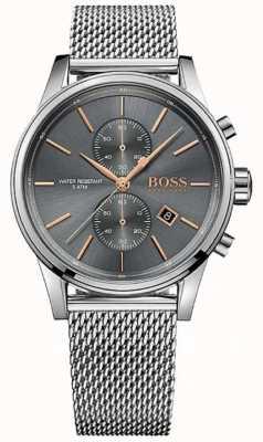Hugo Boss dial de la pulsera de malla de color gris acero inoxidable para hombre de chorro 1513440