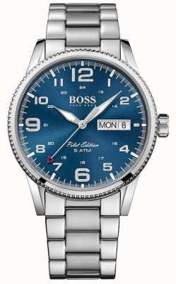 Hugo Boss brazalete de acero inoxidable de línea azul para hombre del piloto de la vendimia 1513329