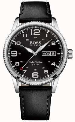 Hugo Boss Mens piloto de la vendimia esfera de color negro correa de cuero negro 1513330