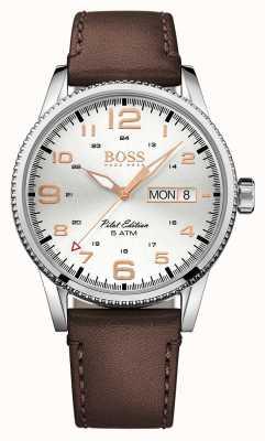 Hugo Boss piloto para hombre del reloj de plata de la correa de cuero marrón de la vendimia 1513333