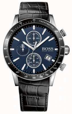 Hugo Boss Mens Rafale correa de cuero negro esfera azul 1513391