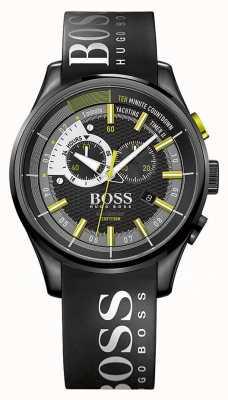 Hugo Boss temporizador de navegación a vela para hombre del dial negro correa de caucho negro ii 1513337
