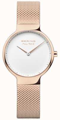 Bering Señoras max rené correa de malla intercambiable rosa dorada 15531-364