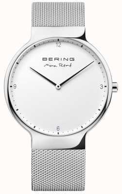 Bering Mens max rené correa de malla intercambiable plata 15540-004