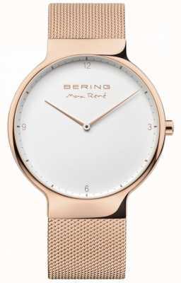 Bering Mens max rené correa de malla intercambiable rosa dorada 15540-364