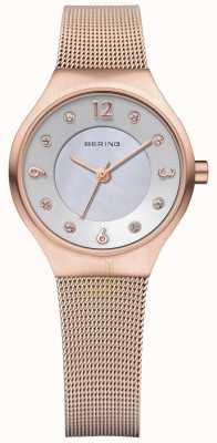 Bering Señoras milanés solar correa de malla de oro rosa 14427-366