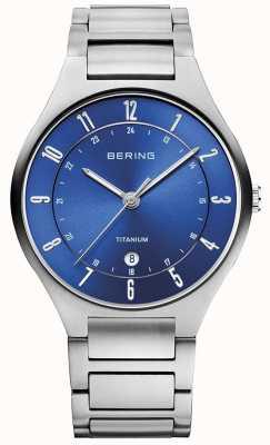 Bering Mens correa gris titanio azul dialwatch 11739-707