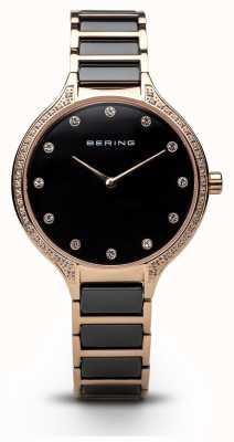 Bering Reloj negro de las señoras del zirconia eramic 30434-746