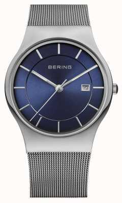 Bering Mens milanese malla correa azul reloj de la cara 11938-003