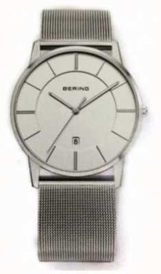 Bering Reloj de pulsera de malla clásica para hombre con esfera blanca 13139-000