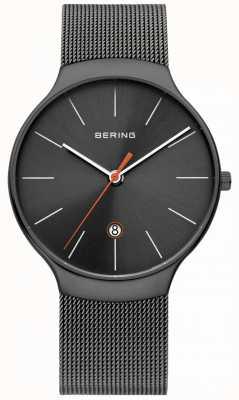 Bering Mens clásico milanesa cinta de malla gris 13338-077