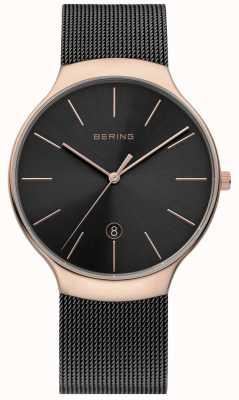 Bering Mens milanesa negro y rosa reloj de malla de oro 13338-262
