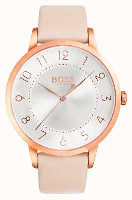 Hugo Boss Las señoras de eclipse reloj de cuero de color rosa 1502407