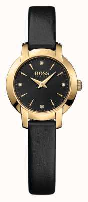 Hugo Boss Damas éxito de reloj de cuero negro 1502383
