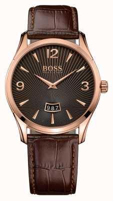Hugo Boss comandante de caballeros reloj de cuero marrón 1513426