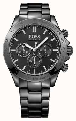 Hugo Boss Caballeros ikon reloj de acero inoxidable negro 1513197