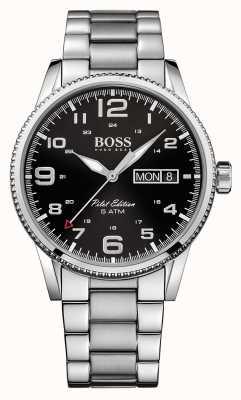 Hugo Boss Reloj de acero de la vendimia caballeros piloto 1513327