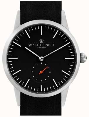 Smart Turnout reloj Firma - negro con cuero negro y plata STK3/BK/56/W
