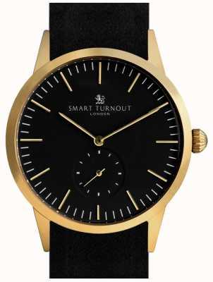 Smart Turnout reloj de la firma - el oro con cuero negro y correa gf STK3/GO/56/W