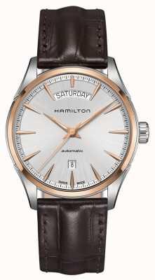 Hamilton de cuero para hombre automático de la fecha de día jazzmaster H42525551
