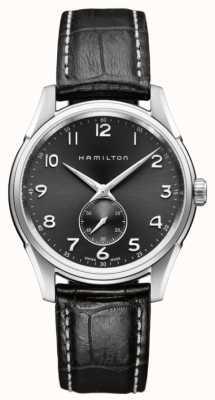 Hamilton Mens jazzmaster thinline segundo pequeña de cuarzo negro H38411783