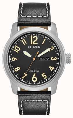 Citizen de cuero negro para hombre del eco drive Chandler BM8471-01E