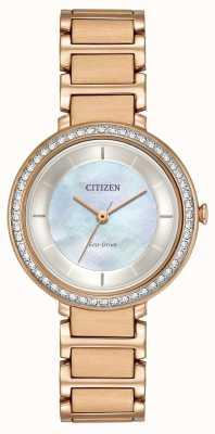 Citizen Womans de conducción ecológica cristal silueta de oro rosa EM0483-54D
