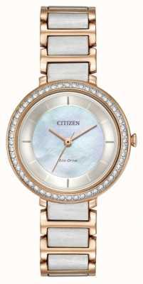 Citizen cristal de la silueta de la mujer de conducción ecológica en dos tonos de oro rosa EM0483-89D