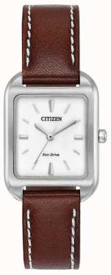 Citizen Womans eco-drive silueta cuero marrón EM0490-08A