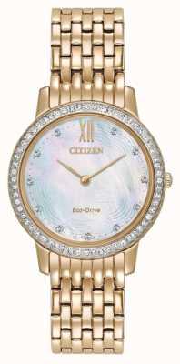 Citizen Womans de conducción ecológica cristal silueta de oro rosa EX1483-50D