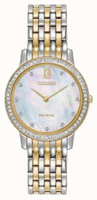 Citizen cristal de la silueta de la mujer de conducción ecológica en dos tonos de oro EX1484-57D