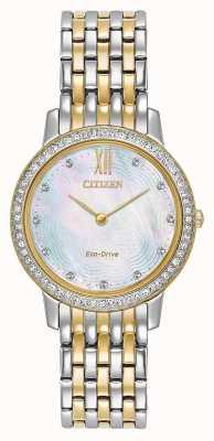 Citizen Womans eco-drive silueta cristal | dos tonos de oro / plata | EX1484-57D
