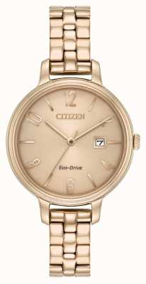 Citizen Chandler del oro de la rosa del eco-impulsión de Womans EW2443-55X