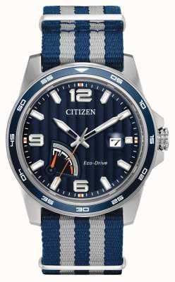 Citizen reloj azul de la tela de reserva de energía para hombre Eco-Drive AW7038-04L
