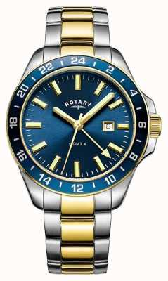 Rotary Hombres havana gmt dos tonos azul GB05082/05