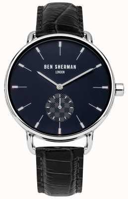Ben Sherman Reloj de cuero negro de la correa de cuero de los hombres de Londres WB063UE