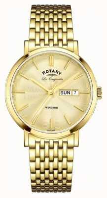 Rotary Para hombre de la correa de oro chapado en Windsor GB90156/03