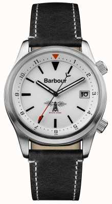 Barbour Mens Seaburn cuero negro blanco BB059WHBK