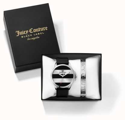 Juicy Couture Womans JetSetter brazalete de plata y negro Juego regalo de reloj 1950011