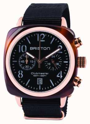 Briston Mens clubmaster clásico de acetato negro crono 14140.PRA.T.1.NB