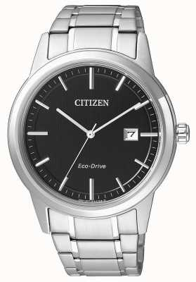 Citizen acero inoxidable esfera de color negro para hombre del reloj de los deportes de conducción ecológica AW1231-58E
