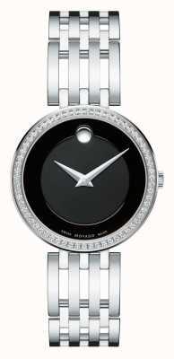 Movado Esperanza esfera de color negro bisel de 63 diamantes de las mujeres 0607052