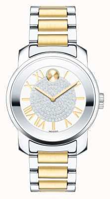 Movado Negrita de tamaño mediano de lujo de dos tonos cristal k1 plata oro 3600256