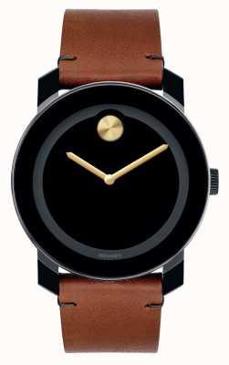 Movado Negrita grandes agujas de oro marcado negro compuestas TR90 negro 3600305