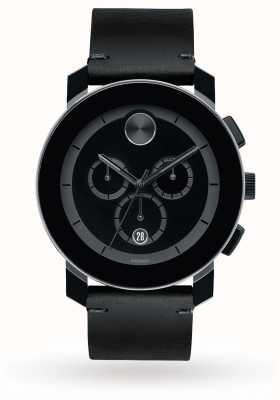 Movado Bold cronógrafo negro dial cuero negro banda cuarzo de los hombres 3600337