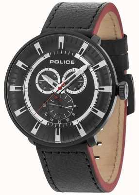 Police Esfera negra de cuero negro multifunción para hombre 15040XCYB/02